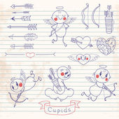 Cupids, arrows, hearts and other vintage elements — Vecteur