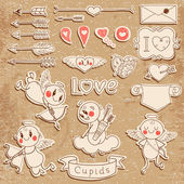 Cupids, arrows, hearts and other vintage elements — Vettoriale Stock