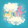 Card with a cute unicorns rainbow in the clouds. — Stock Vector