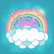 Unicorn rainbow in the clouds — Stock Vector #36802729