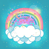Unicorn rainbow in the clouds — Stock Vector