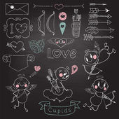 Cupids, arrows, hearts and other design elements — 图库矢量图片