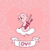 Valentine's Day card with a cute Cupid — Stock Vector
