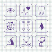 Sketches simple medical icons set — 图库矢量图片