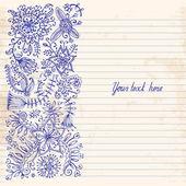 Floral doodle. Vintage background. — 图库矢量图片