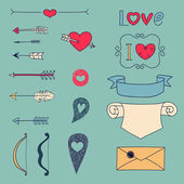 Arrows, hearts and other design elements — Stock Vector
