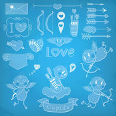 Cupids, arrows, hearts and other design elements — Stockvector