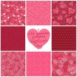 Seamless patterns Valentine's Day — Stock Vector