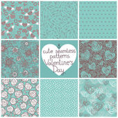 Seamless patterns Valentine's Day — Vettoriale Stock