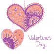 Decorative card with hearts for Valentine day. — Stock Vector