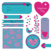 Valentine's Day set of design elements — Stock Vector