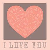 バレンタインの日心のヴィンテージのカード. — ストックベクタ