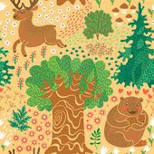 Seamless pattern with deer, bears in the woods. — Stock Vector