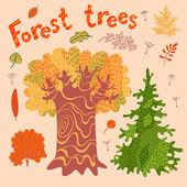 森林乔木、 灌木、 叶. — 图库矢量图片