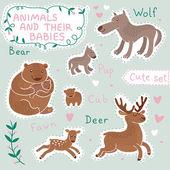 赤ちゃんとママの動物セット — ストックベクタ