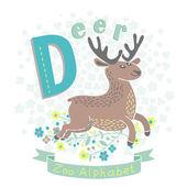 Letter D - Deer — Vector de stock