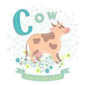 Letter C - Cow — Stockvektor