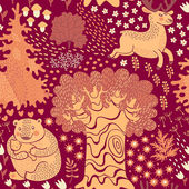 Seamless pattern with deer, bears in the woods. — Stok Vektör