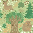 ストックベクタ: Seamless pattern with deer, bears in woods.