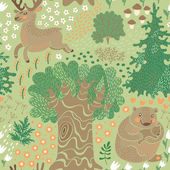 Seamless pattern with deer, bears in the woods. — Stockvector
