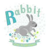 Letter R - Rabbit — Stok Vektör