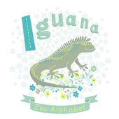 Letter I - Iguana — Stock Vector