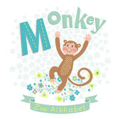 Letter M - Monkey — Stock Vector