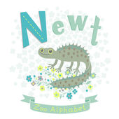Letter N - Newt — 图库矢量图片