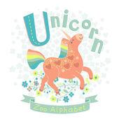 Letter U - Unicorn — Stock Vector