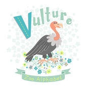 Letter V - Vulture — Stock Vector