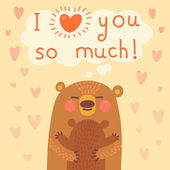 Greeting card for the bear mother and cub. — Stockvektor