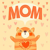 Greeting card for mom with cute kitten. — Stockvektor