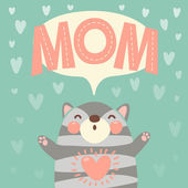 Greeting card for mom with cute kitten. — Stock Vector