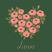 Cute vintage roses arranged in a heart shape — 图库矢量图片