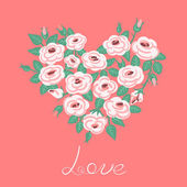 Cute vintage roses arranged in a heart shape — Stock Vector