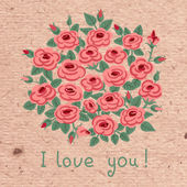 Vintage card with a bouquet of roses. — Vector de stock
