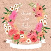 Wzór karty z Wieniec kwiatów. Zapisywanie daty. — Wektor stockowy
