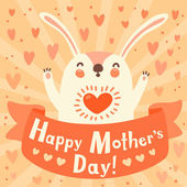 Greeting card for mom with cute rabbit. — Stock Vector
