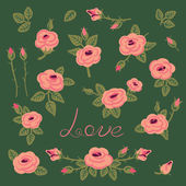 Set of vintage roses for design. — Vecteur