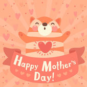 Greeting card for mom with cute kitten. — Vector de stock