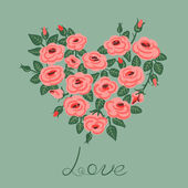 Cute vintage roses arranged in a heart shape — Stockvector