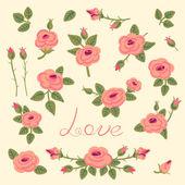 Set of vintage roses for design. — Stock Vector