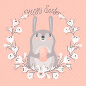 Happy Easter card with cute bunny. — Vecteur