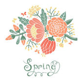 Vintage card with a blossoming branch. — Stock Vector