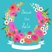 Vintage card with floral wreath. Save the date. — Stock Vector