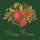 Vintage flowers. Cute flower for design — Stock Vector
