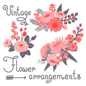 Vintage flowers. Cute flower for design — ストックベクタ