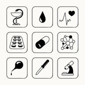 Simple medical icons set — Stock vektor
