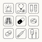 Simple medical icons set — Stock Vector
