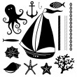 Silhouette Sea - Hand drawn set of sea symbols — Stock Vector #45006549
